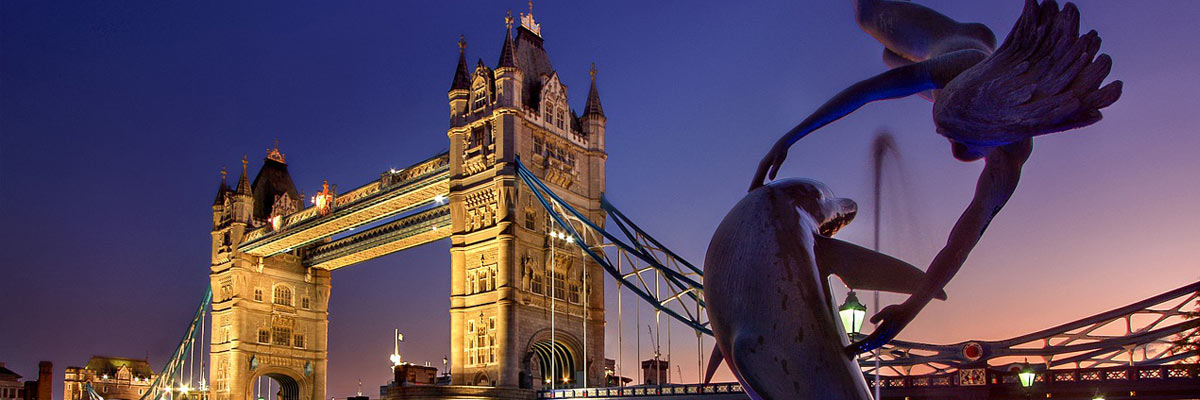 The London Tower Bridge at dusk.