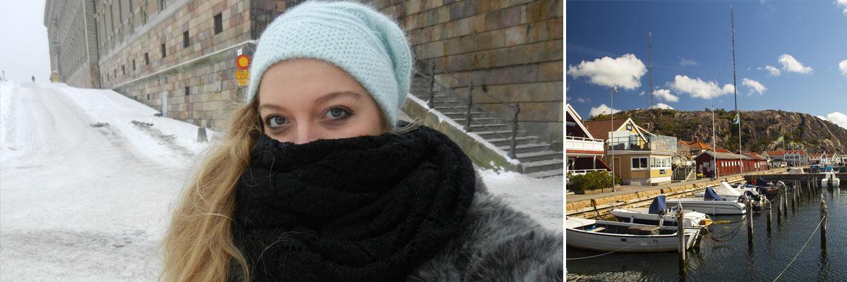 Chloe en Suède où il faisait froid