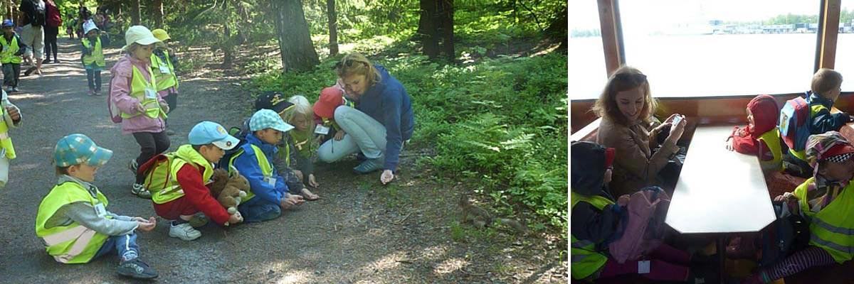 Clara en faisant une excurison avec les enfants