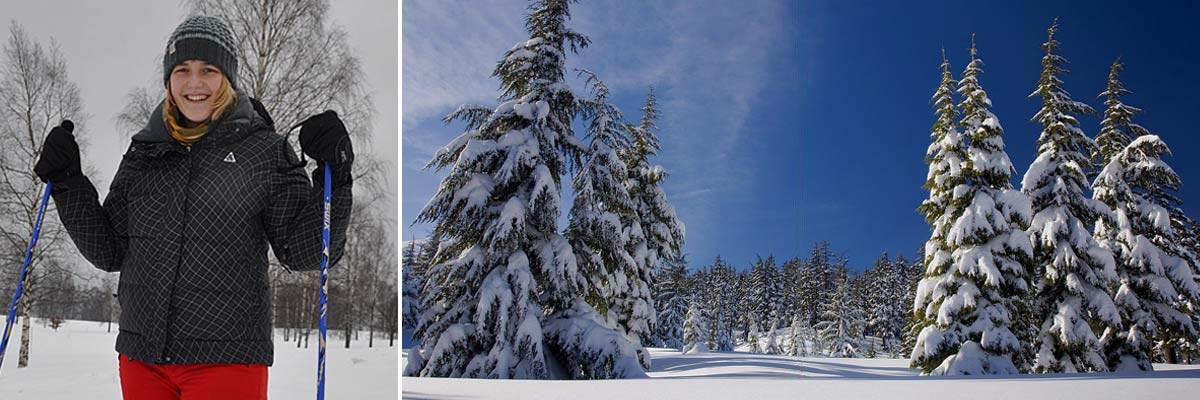 Franziska genießt die Winterlandschaft in Finnland