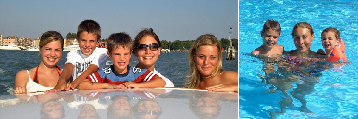 La famiglia di Francesca in piscina e in barca