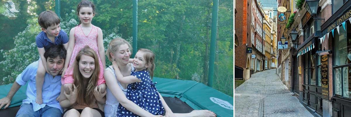 Karine's children with her au pair on a trampoline
