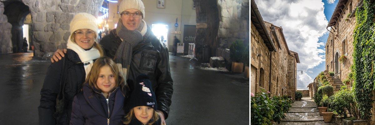 Monica e la sua famiglia in inverno e un vicolo in Italia