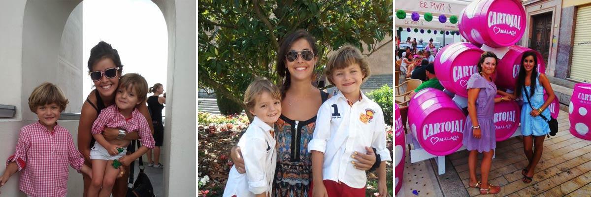 Teresa con sus hijos invitados y su madre anfitriona.