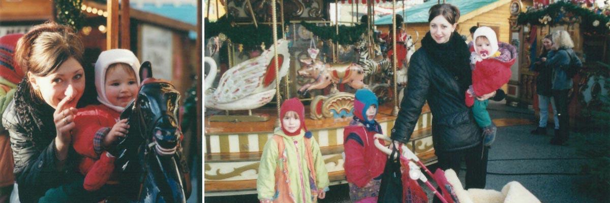 Kasia mit ihren Gastkindern auf dem Weihnachtsmarkt