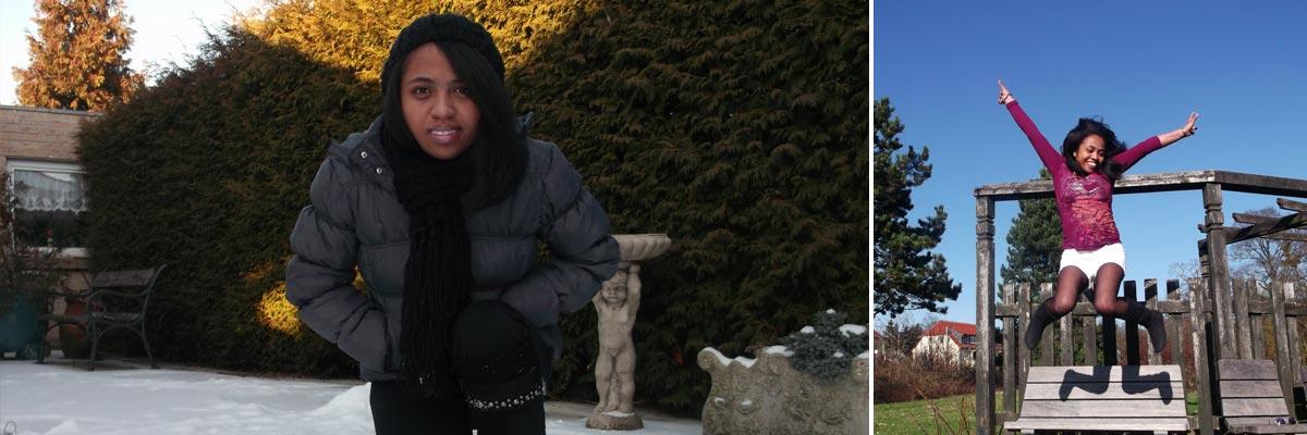 Malalatiana dans la neige et sur un terrain du jeux