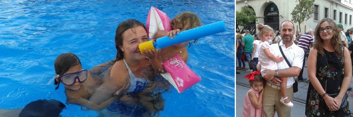 Marta en la piscina y con su familia anfitriona.