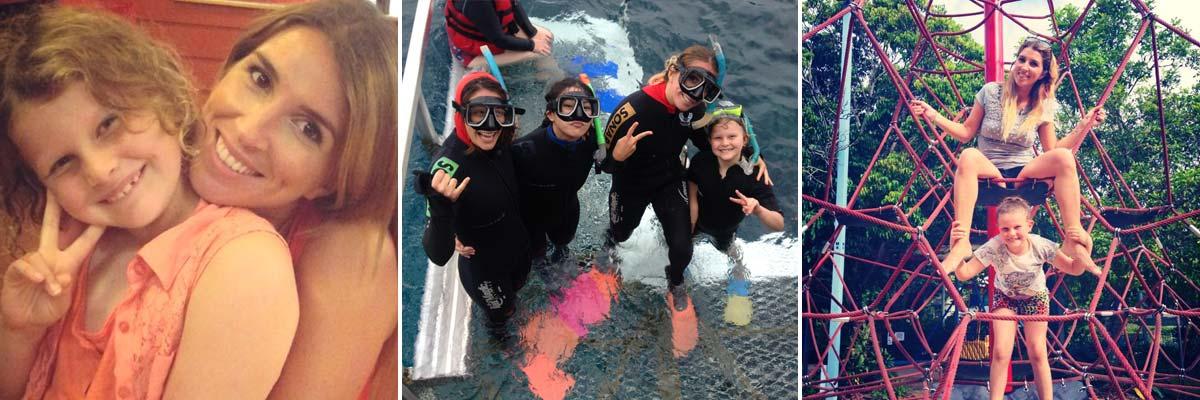 Michaela con i suoi bambini ospiti e le immersioni