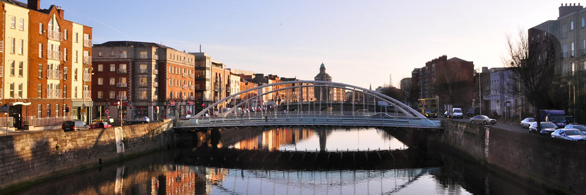 Dublin, a bridge which is reflected on the water