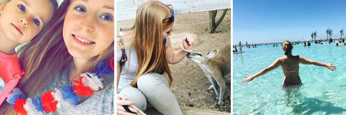 Nina mit ihrem Au-pair-Kind, einem Känguru und in einem Pool