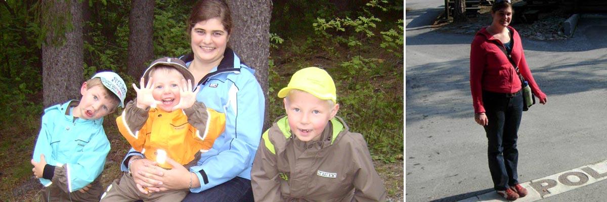 Nina alleine und mit ihren Kindern im Wald