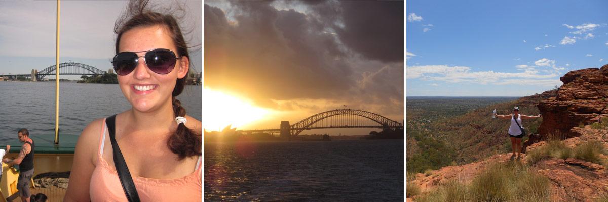 Sophie in Sydney und vor einer großartigen Aussicht