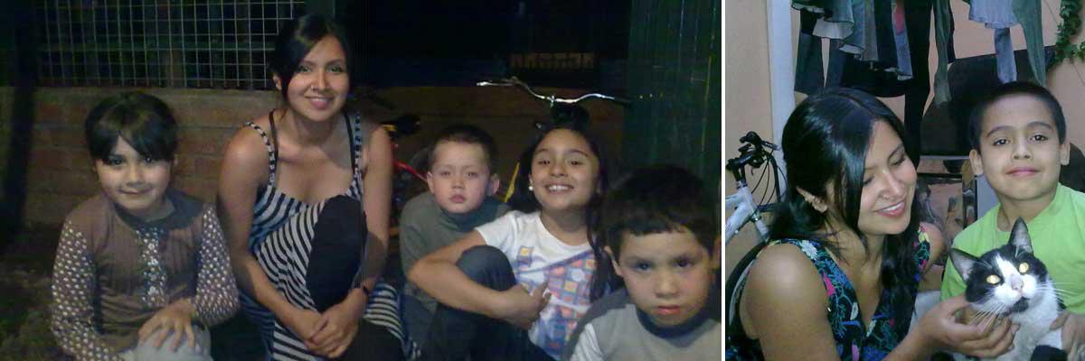 Tamara con su au pair hijos y un gato.