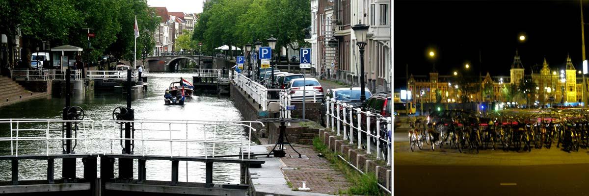Amsterdam und Fahrräder bei Nacht