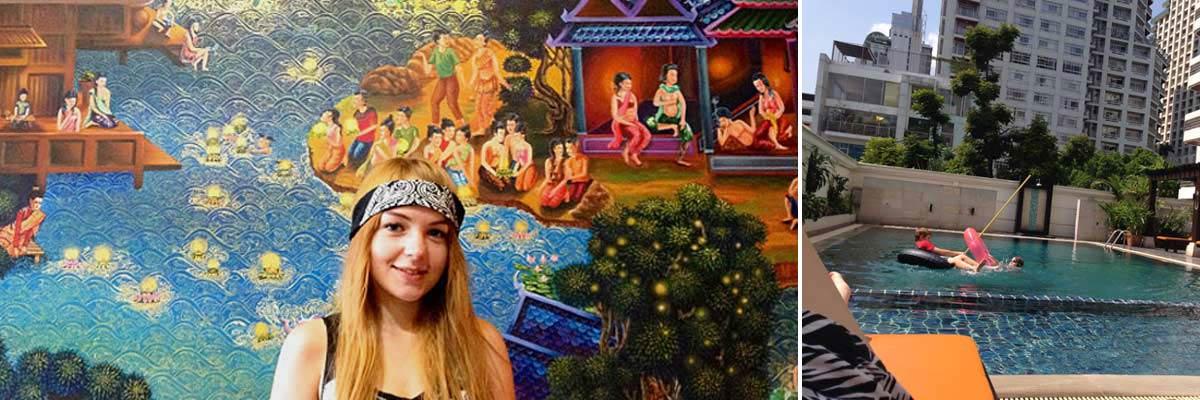 Sarah in Bangkok vor einer bemalten Wand und an einem Pool