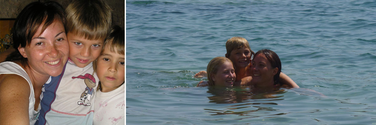 Anna with her two host kids, at the ocean and snuggling