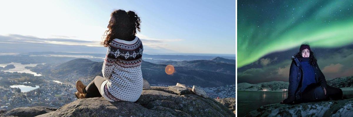Camilla immersa nella natura norvegese