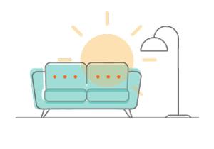 gráfico sofá y lámpara