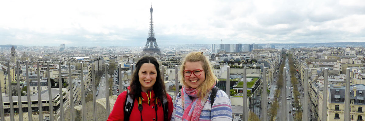 Au pair Charlotte (on the right) with a friend in Paris.