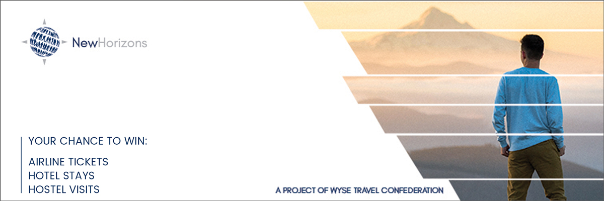 A young man looks out at the horizon - Banner WYSE New Horizons