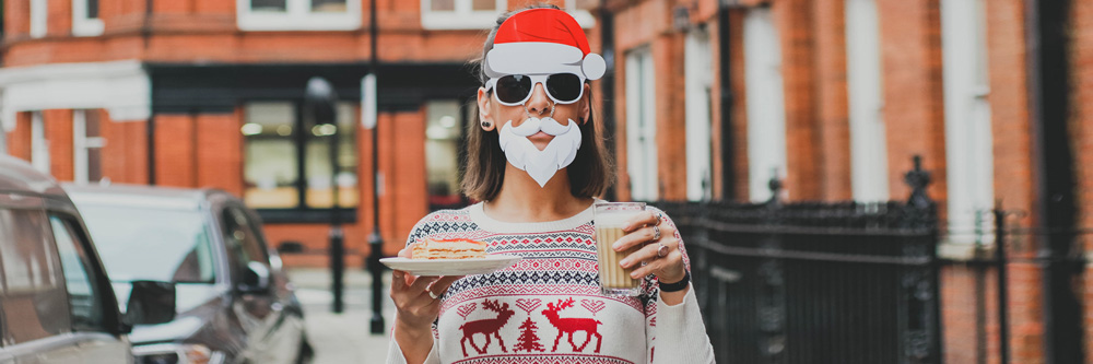 Young woman with santa clause fancy dress