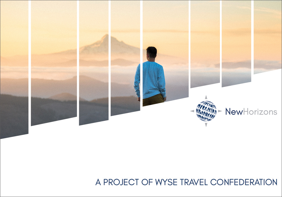 Banner WYSE New Horizons – A man is watching the sky and the mountains