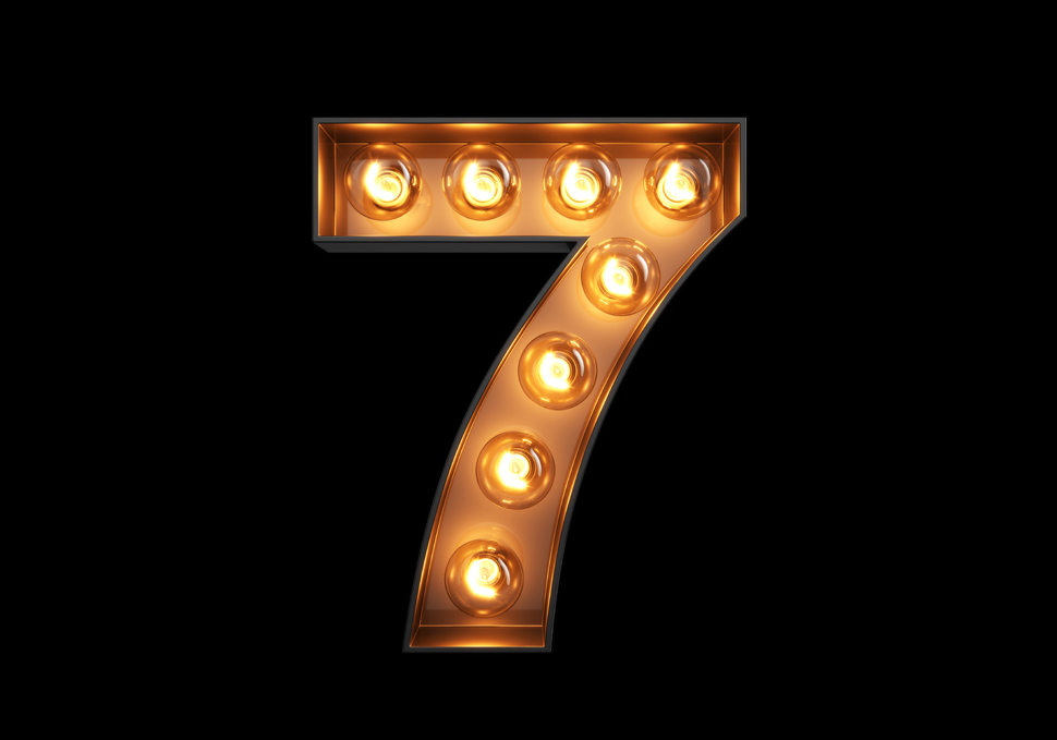 lighted number seven