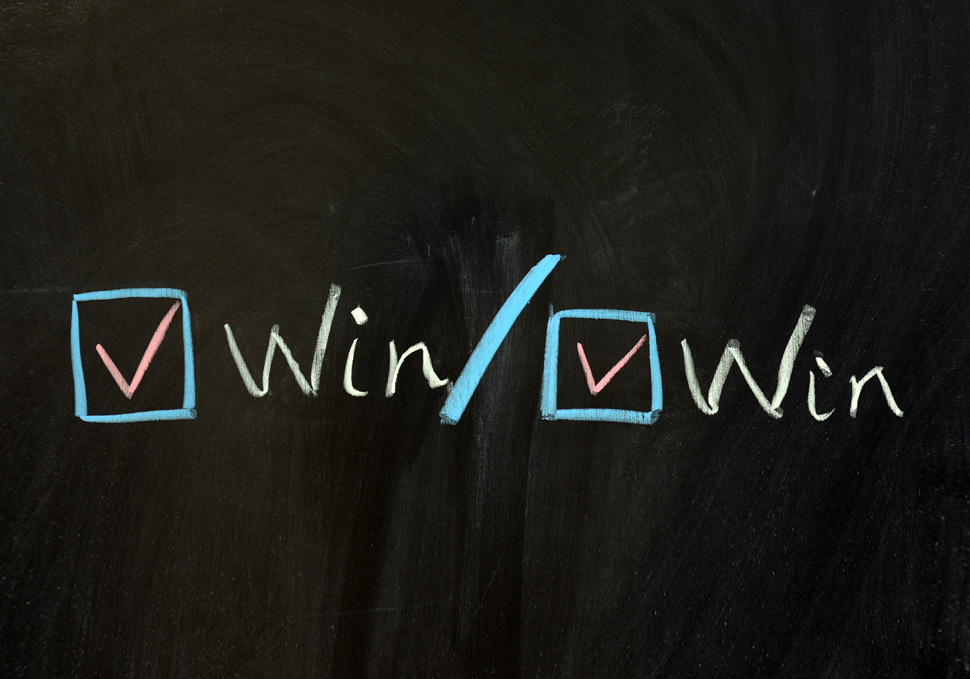 Win-win written with chalk
