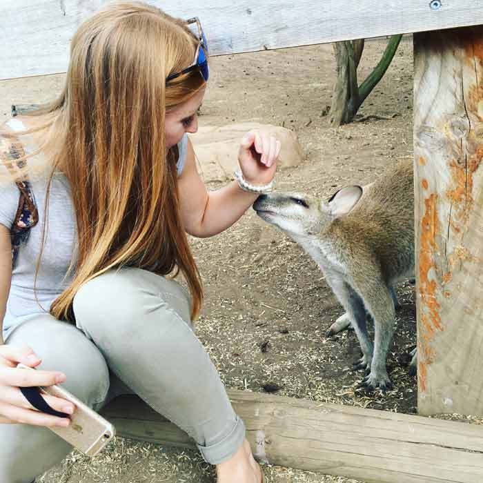 Nina next to a kangaroo