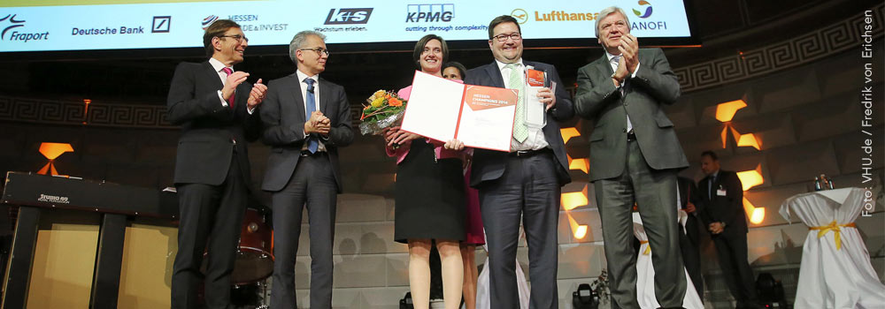 Directors Regenbogen and Schell proudly receiving the Hessen Champion Award 2014 in Wiesbaden, Germany