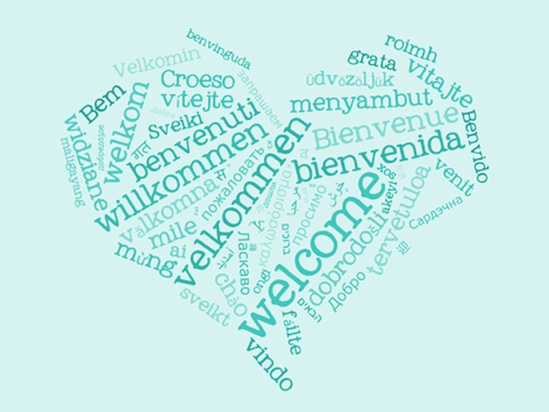 Showing the word Welcome in different languages