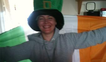 Chiara's au pair with an Irish flag