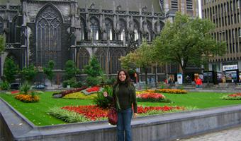 Rita in front of a church